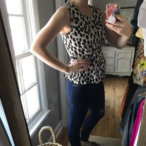 Black and cream H&M sleeves polka dot blouse.